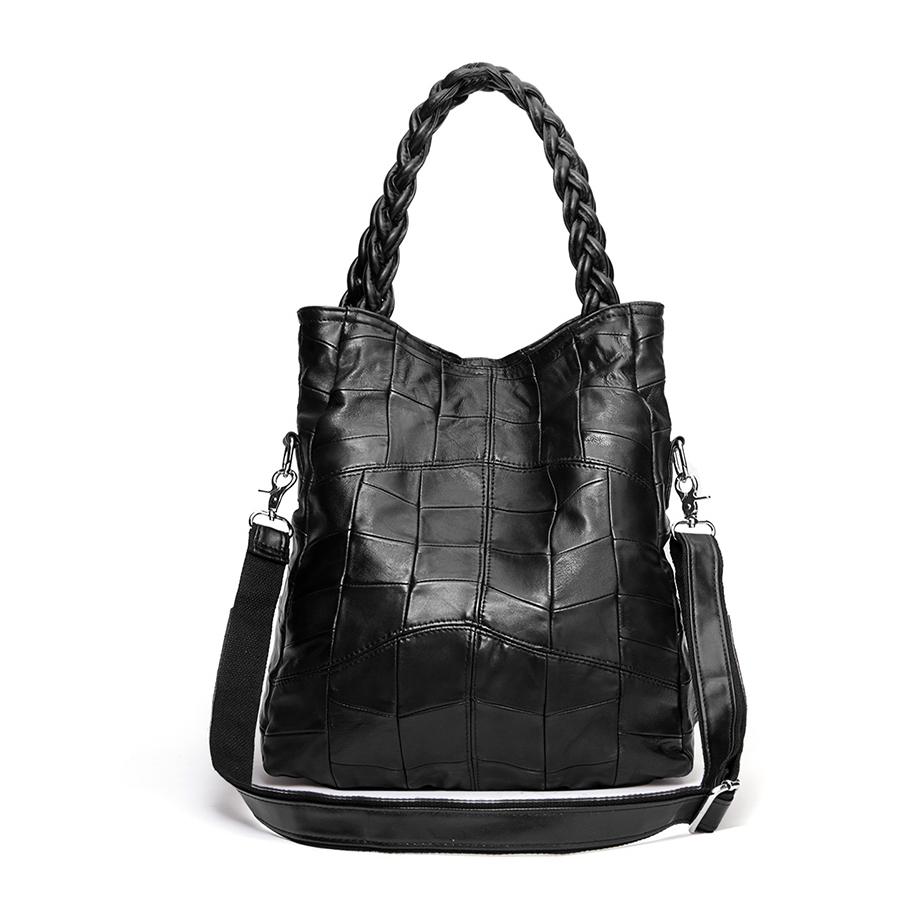 leather patchwork shoulder bag